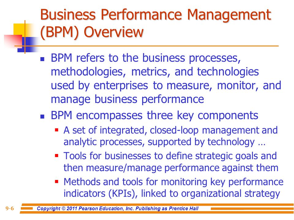 Business Performance Management (BPM) Overview