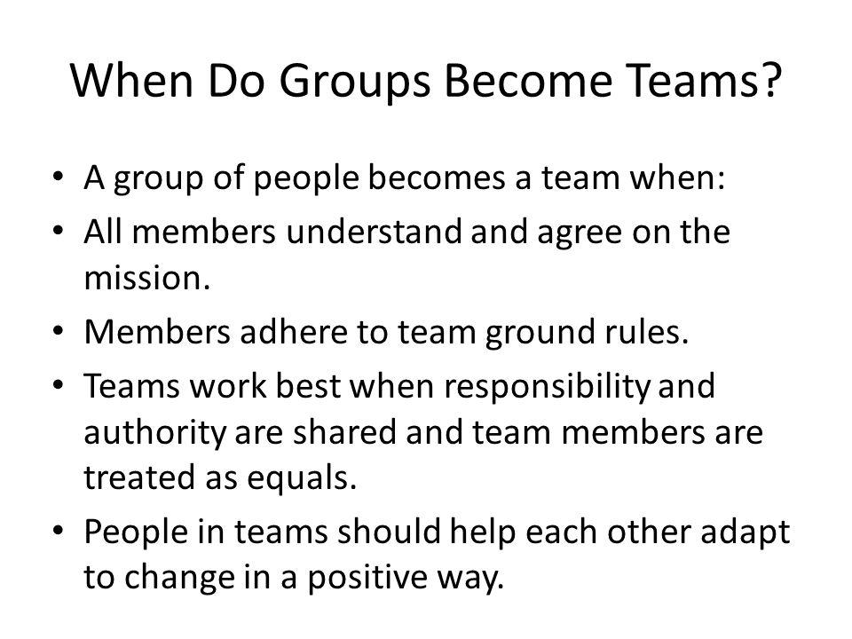 When Do Groups Become Teams