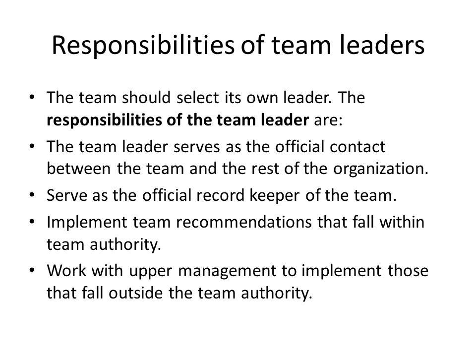 Responsibilities of team leaders