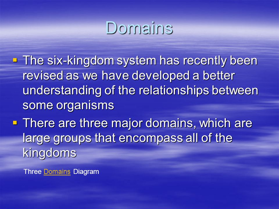 Domains The six-kingdom system has recently been revised as we have developed a better understanding of the relationships between some organisms.