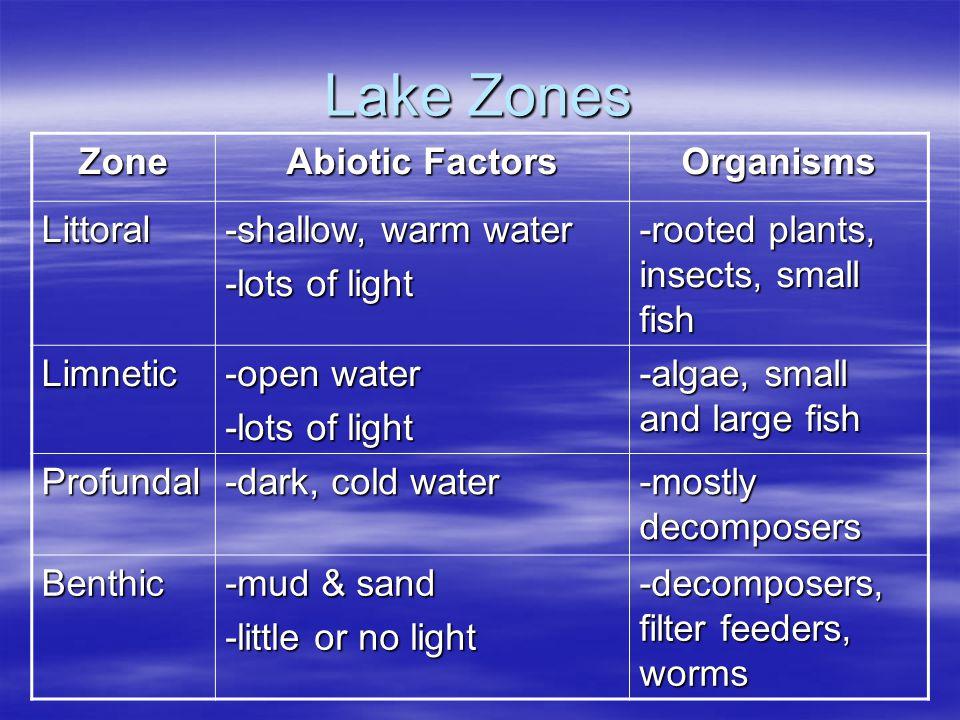 Lake Zones Zone Abiotic Factors Organisms Littoral