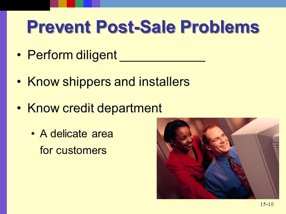 Prevent Post-Sale Problems