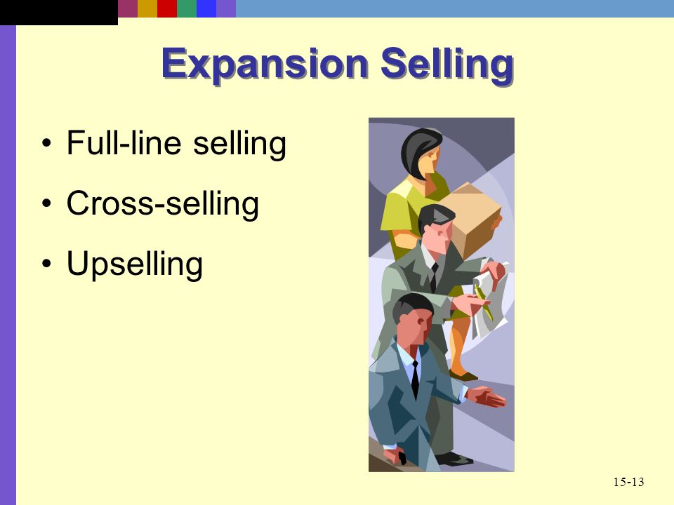 Expansion Selling Full-line selling Cross-selling Upselling