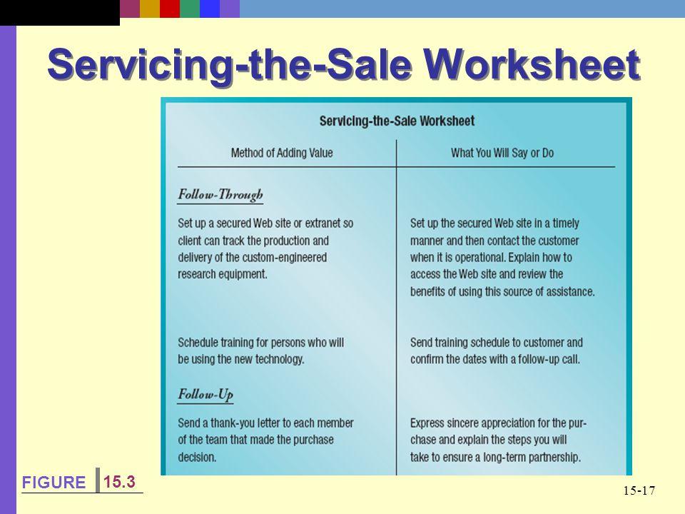 Servicing-the-Sale Worksheet