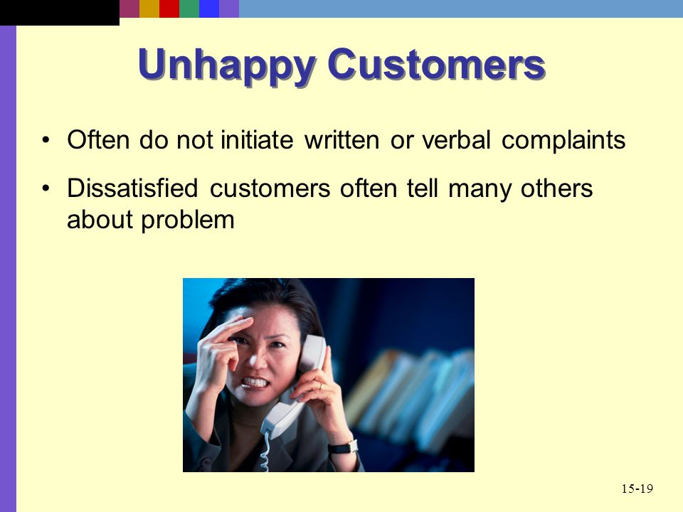Unhappy Customers Often do not initiate written or verbal complaints