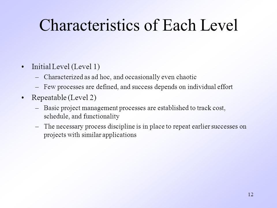 Characteristics of Each Level