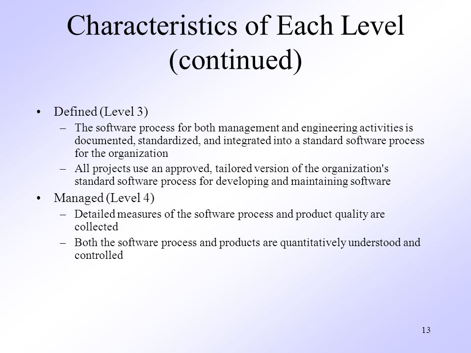 Characteristics of Each Level (continued)