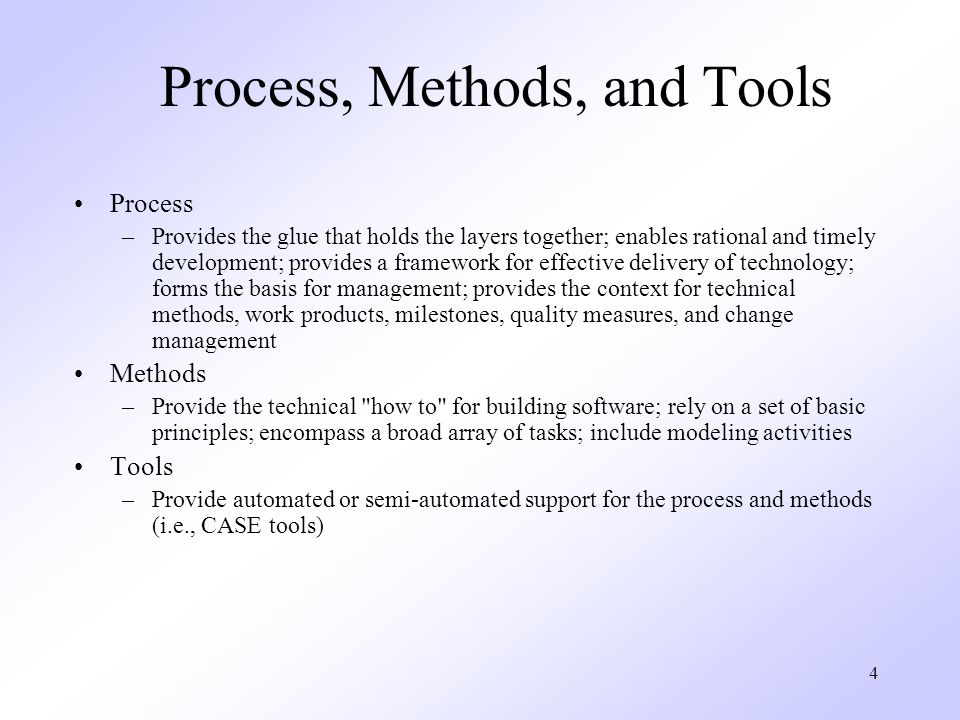 Process, Methods, and Tools