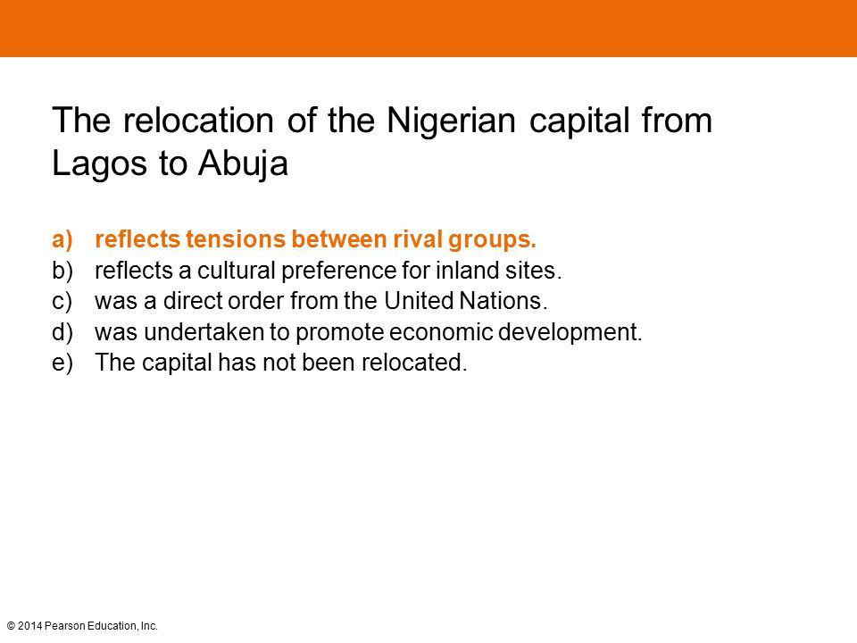 The relocation of the Nigerian capital from Lagos to Abuja