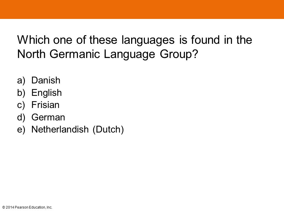 Which one of these languages is found in the North Germanic Language Group