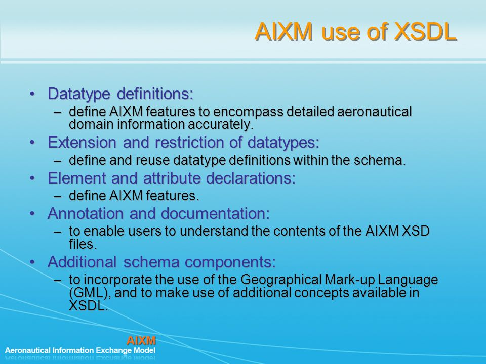 AIXM use of XSDL Datatype definitions: