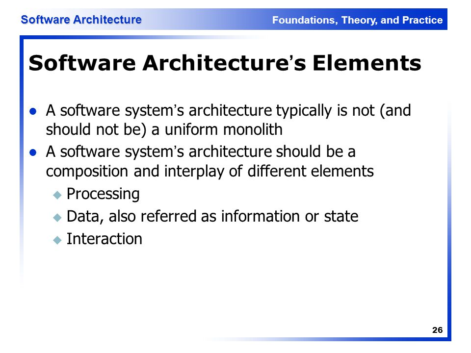 Software Architecture's Elements