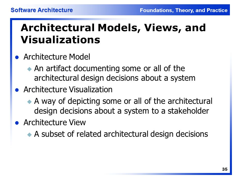 Architectural Models, Views, and Visualizations