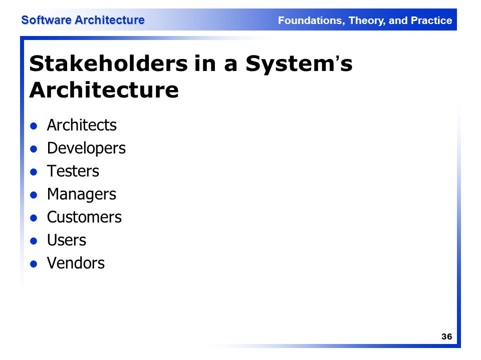 Stakeholders in a System's Architecture
