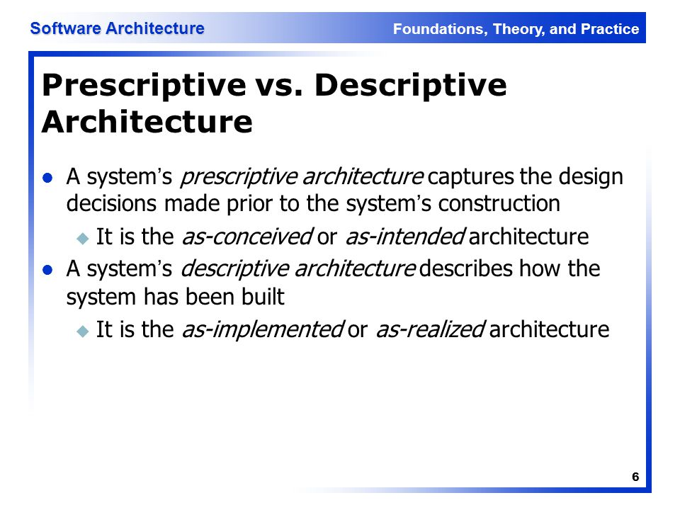 Prescriptive vs. Descriptive Architecture