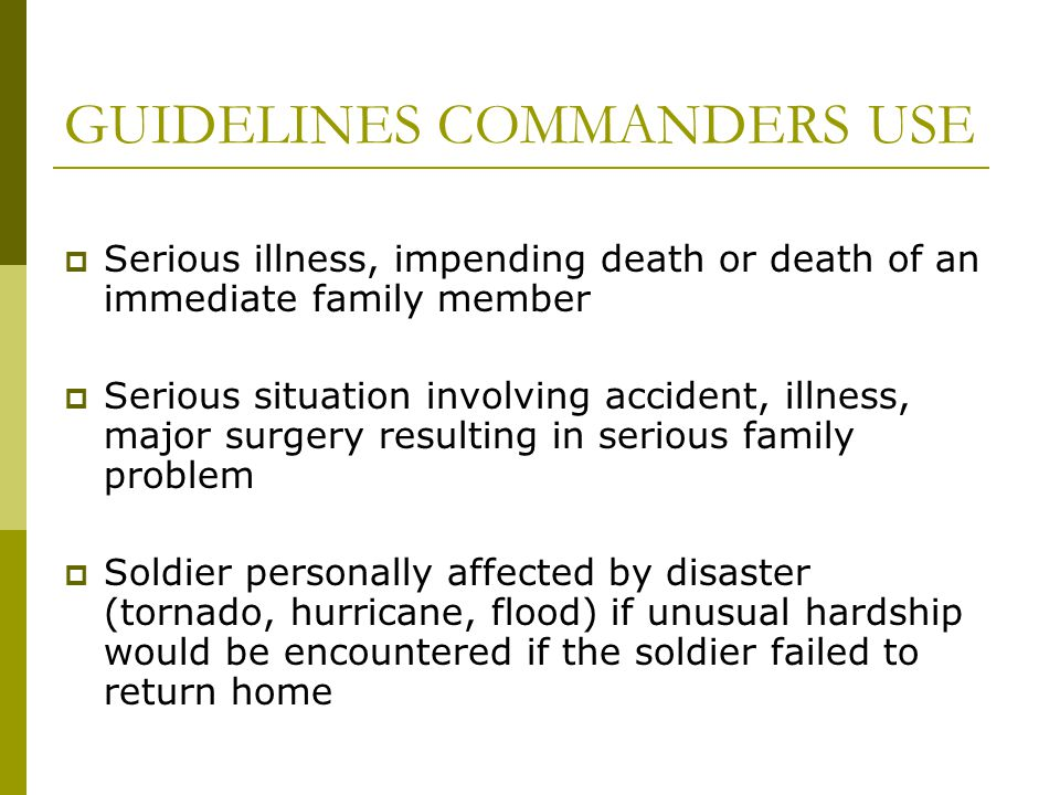 GUIDELINES COMMANDERS USE