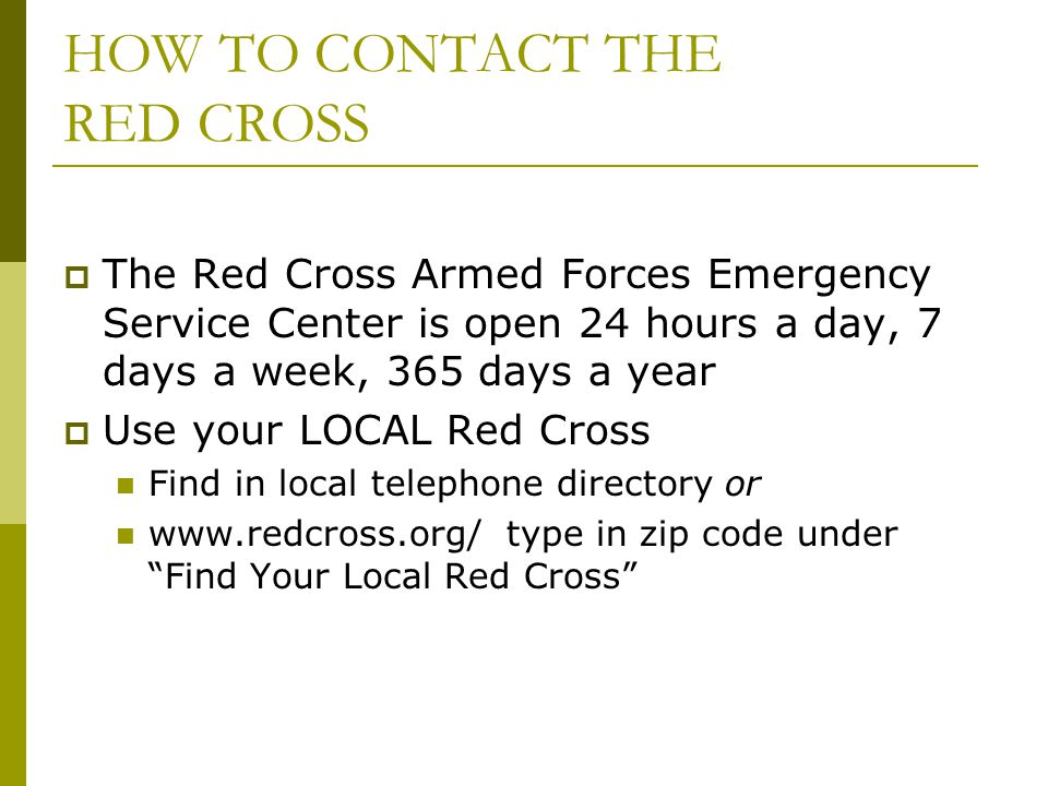 HOW TO CONTACT THE RED CROSS
