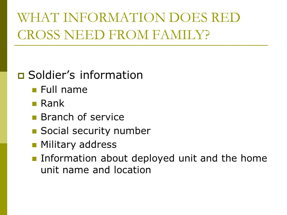 WHAT INFORMATION DOES RED CROSS NEED FROM FAMILY