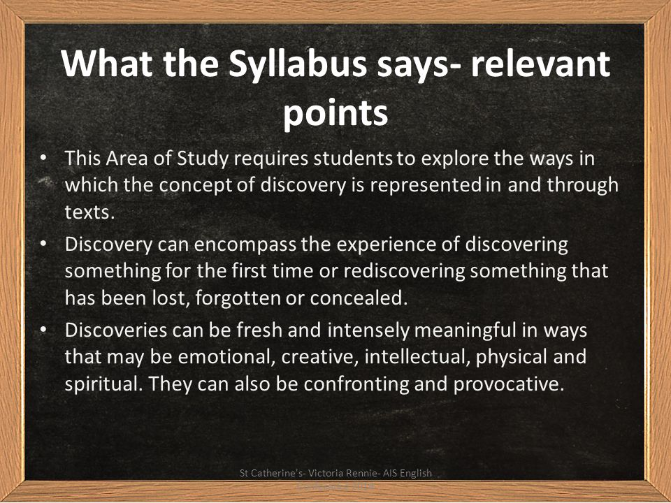 What the Syllabus says- relevant points