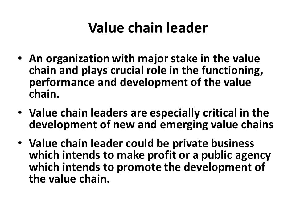 Value chain leader