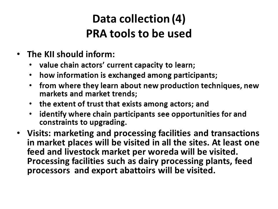 Data collection (4) PRA tools to be used