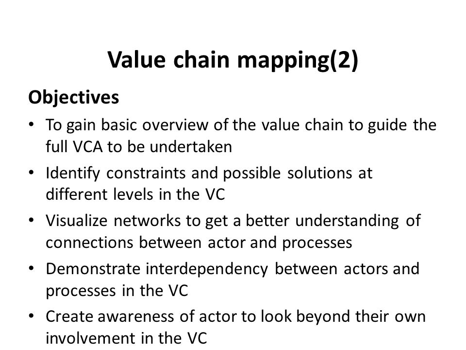 Value chain mapping(2) Objectives