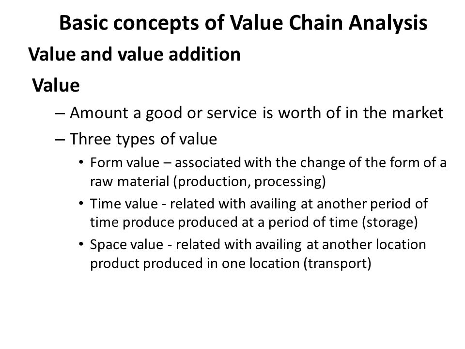 Basic concepts of Value Chain Analysis