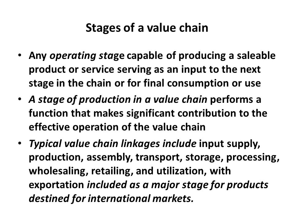 Stages of a value chain