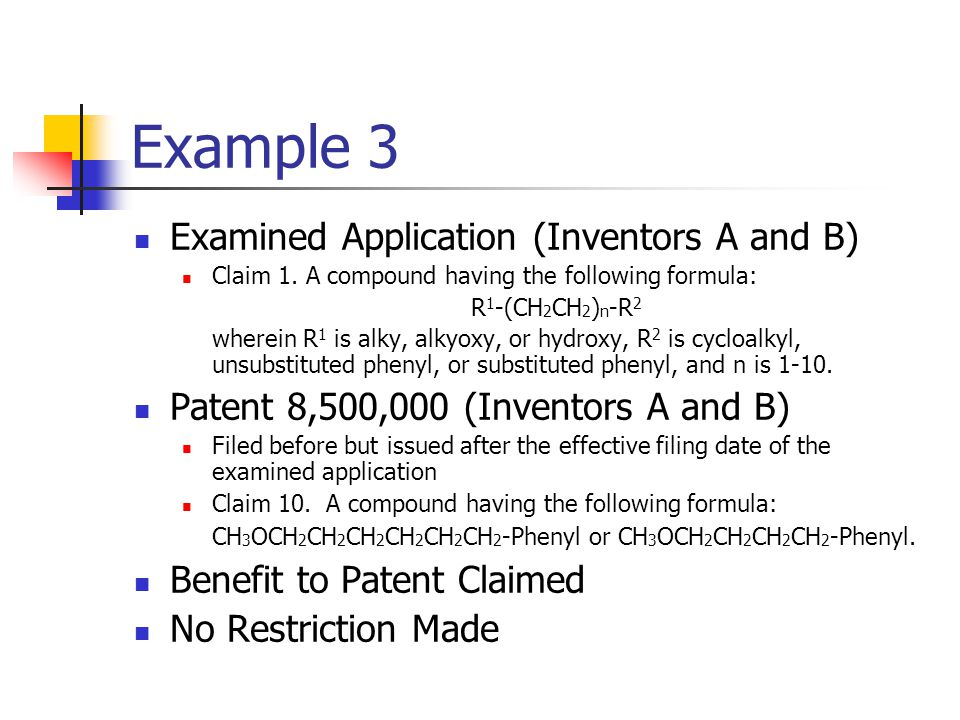 Example 3 Examined Application (Inventors A and B)