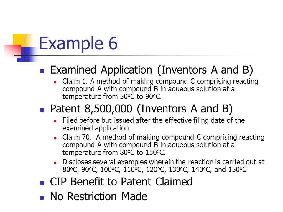 Example 6 Examined Application (Inventors A and B)