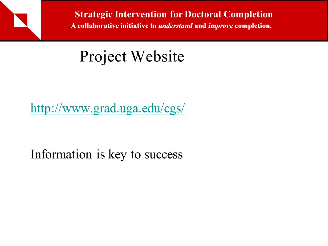 Project Website http://www.grad.uga.edu/cgs/