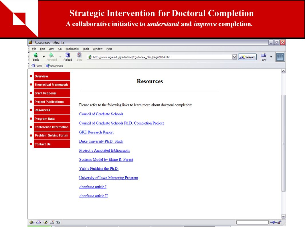 Resources Strategic Intervention for Doctoral Completion