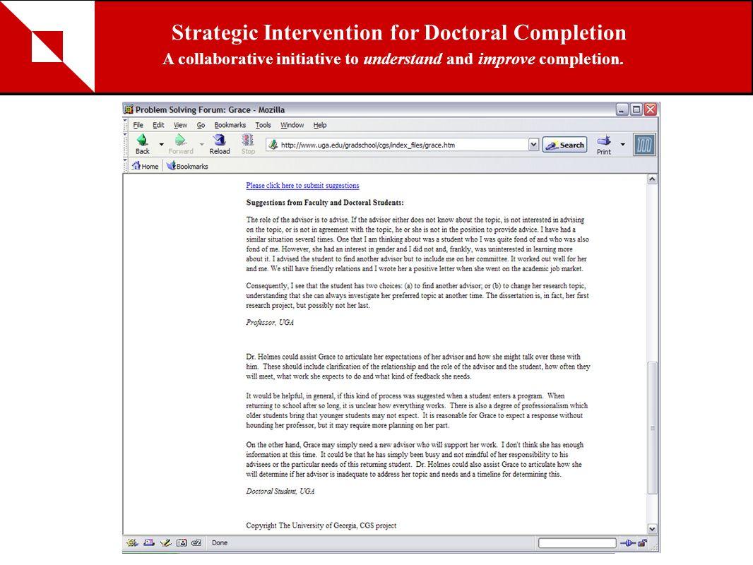 Strategic Intervention for Doctoral Completion