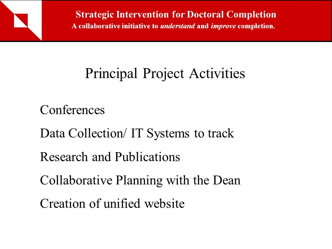 Principal Project Activities