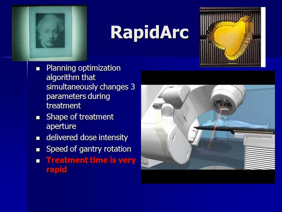 RapidArc Planning optimization algorithm that simultaneously changes 3 parameters during treatment.