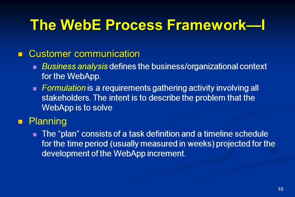 The WebE Process Framework—I