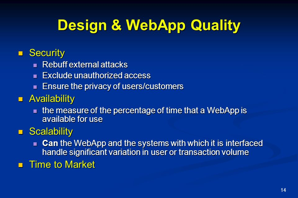 Design & WebApp Quality