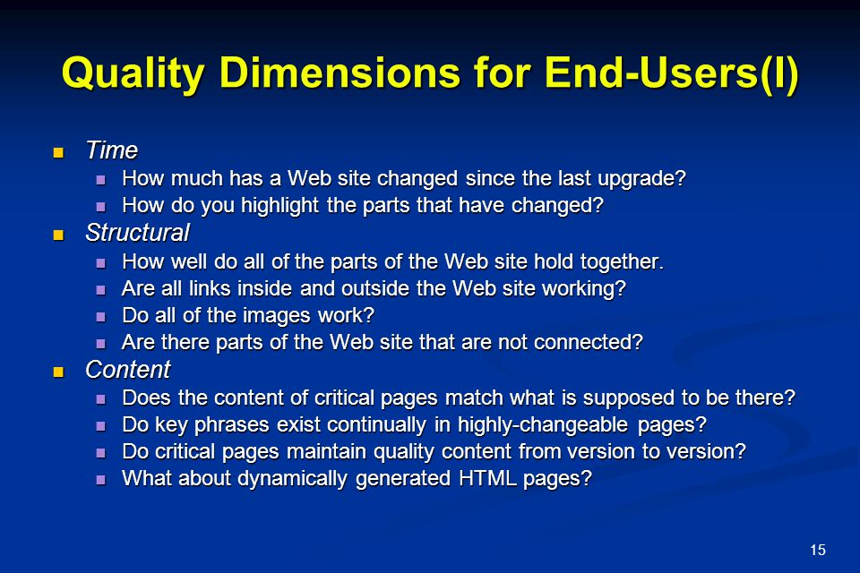 Quality Dimensions for End-Users(I)