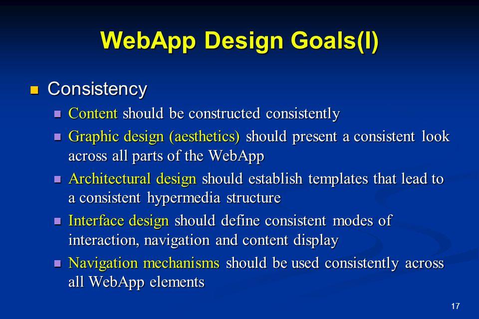 WebApp Design Goals(I)