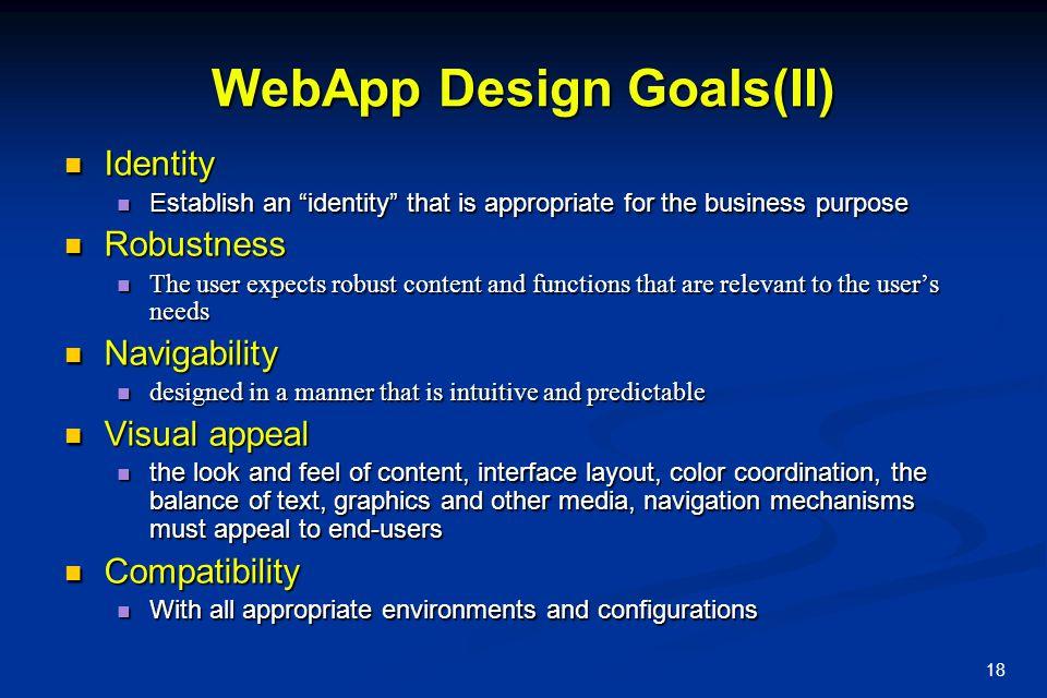 WebApp Design Goals(II)