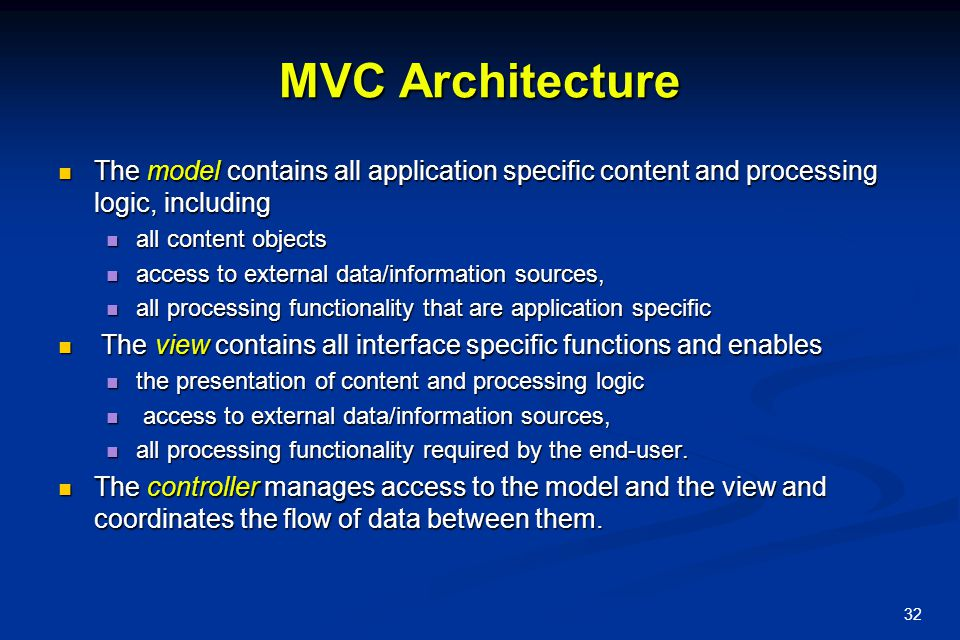 MVC Architecture The model contains all application specific content and processing logic, including.