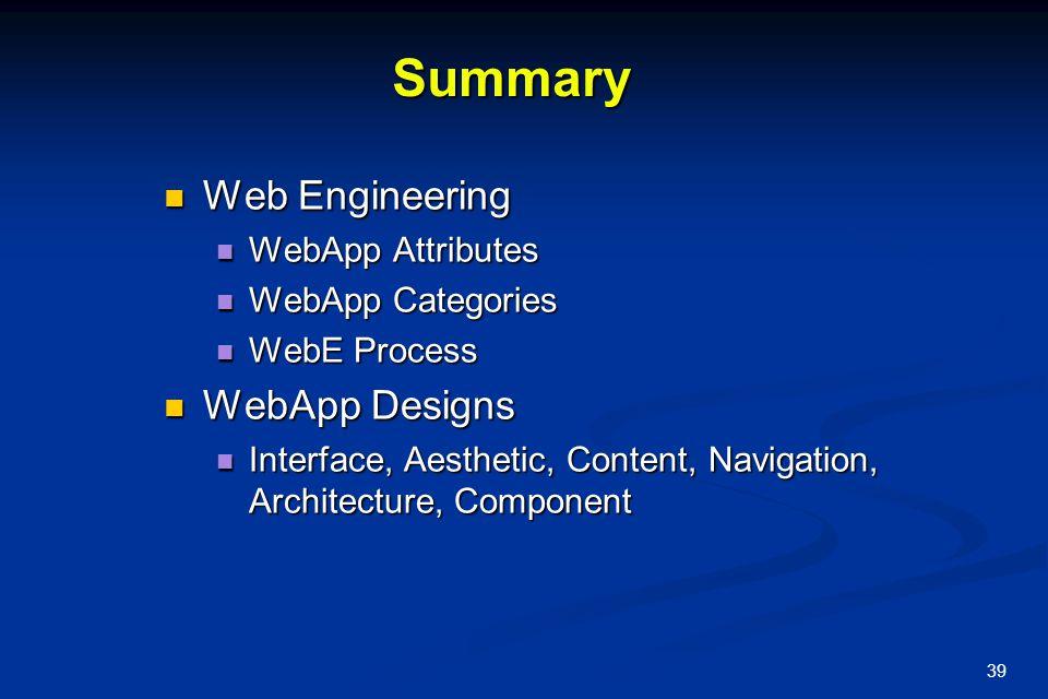 Summary Web Engineering WebApp Designs WebApp Attributes