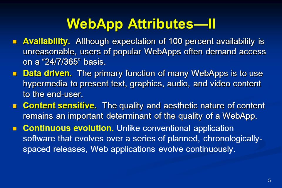 WebApp Attributes—II