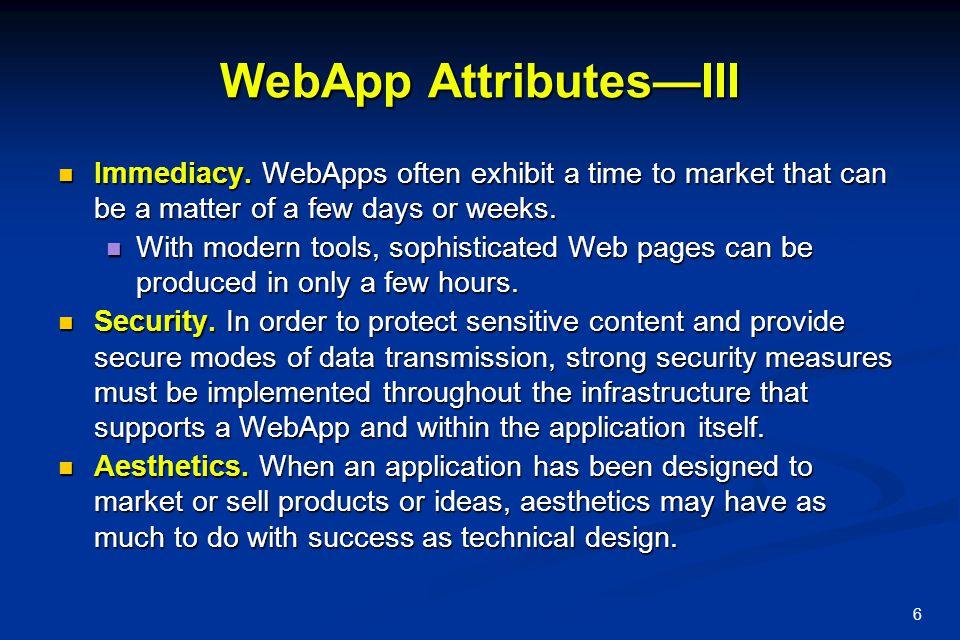WebApp Attributes—III