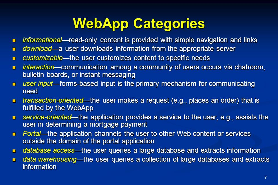 WebApp Categories informational—read-only content is provided with simple navigation and links.