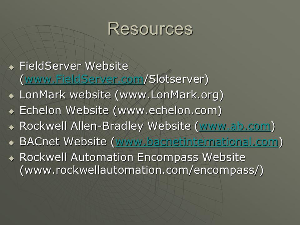Resources FieldServer Website (www.FieldServer.com/Slotserver)