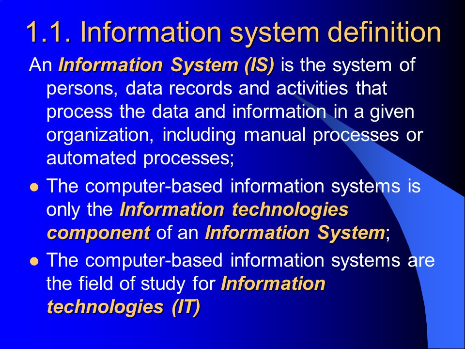 1.1. Information system definition