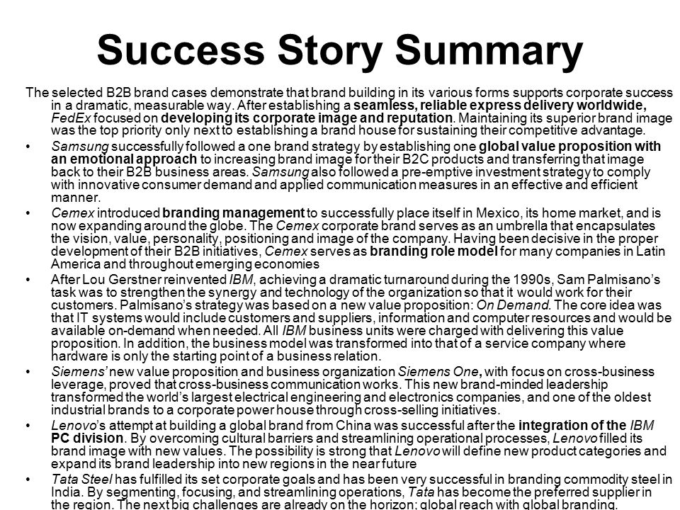 Success Story Summary