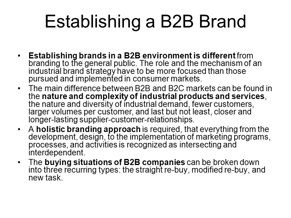 Establishing a B2B Brand