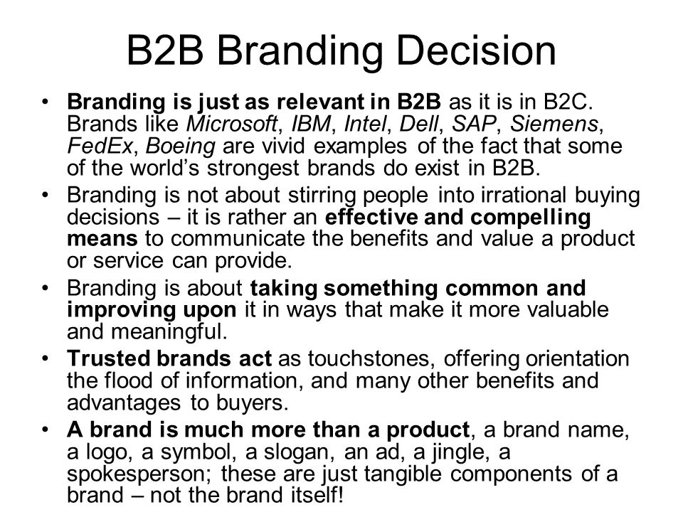 B2B Branding Decision